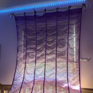 Pottery Barn ruffled single panel tie top curtains